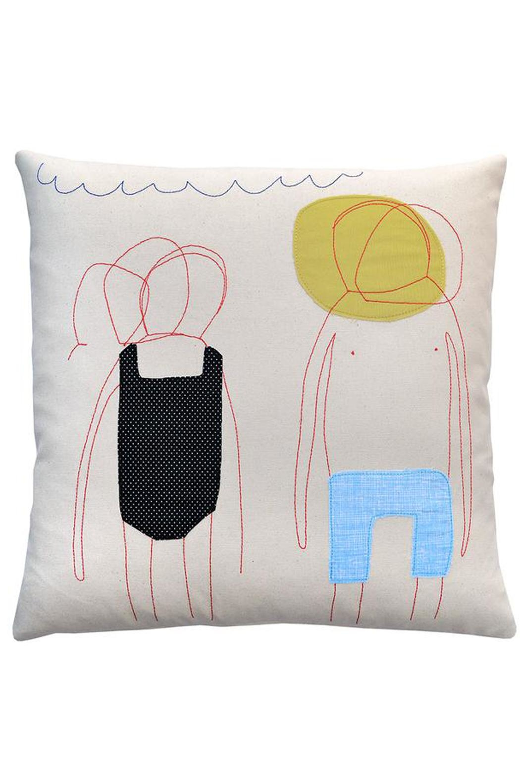 K Studio Home Embroidered Sunbathers Pillow - Main Image