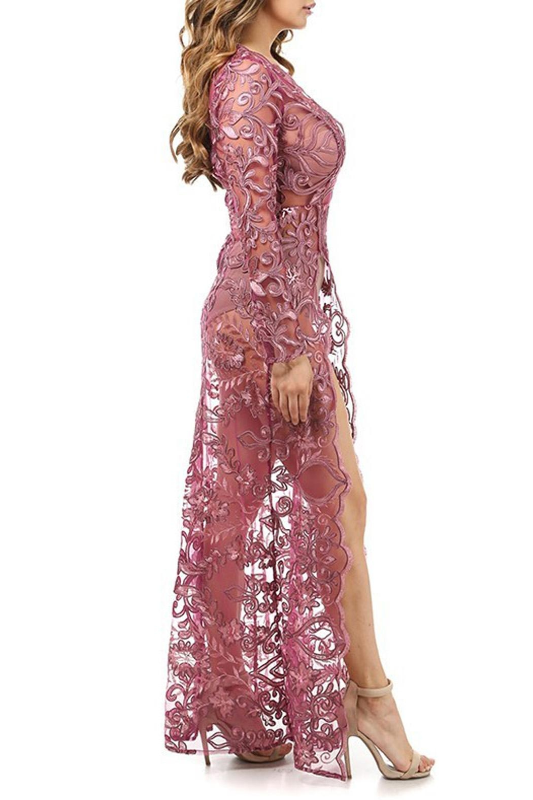 K too Embroidered Sheer Gown - Side Cropped Image