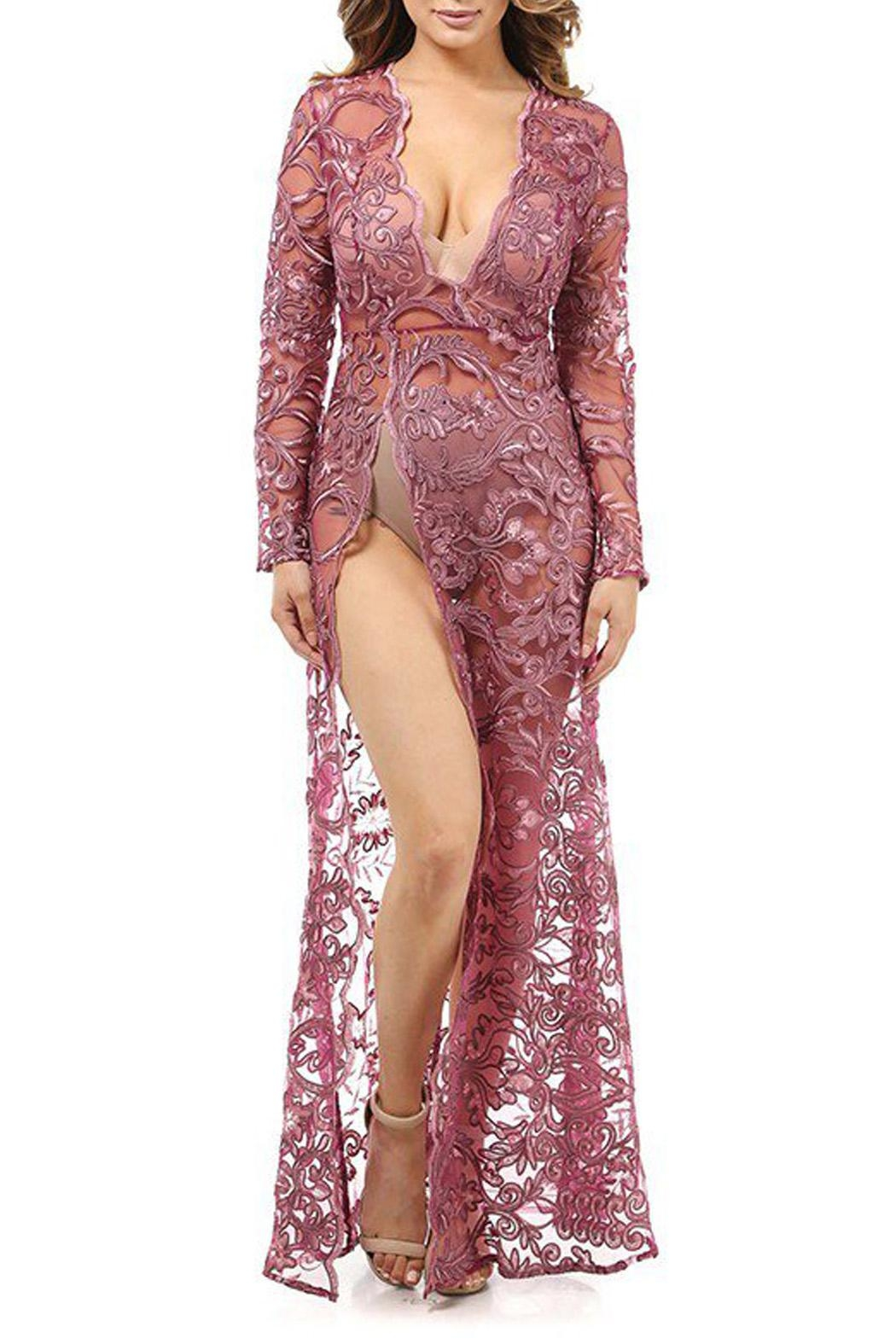 K too Embroidered Sheer Gown - Front Full Image