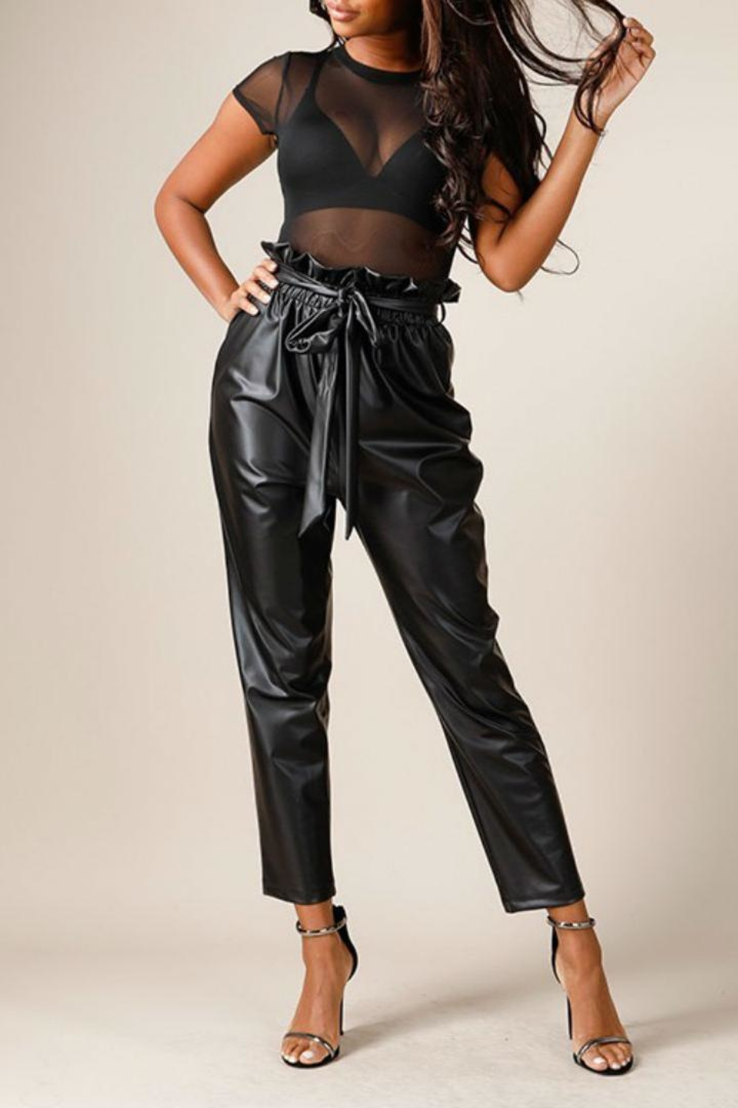 K too Faux Leather Pants - Front Full Image