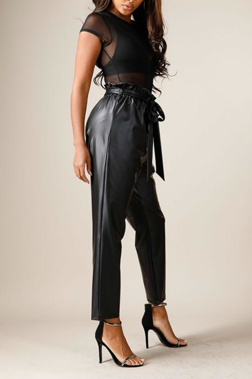 K too Faux Leather Pants - Side Cropped Image