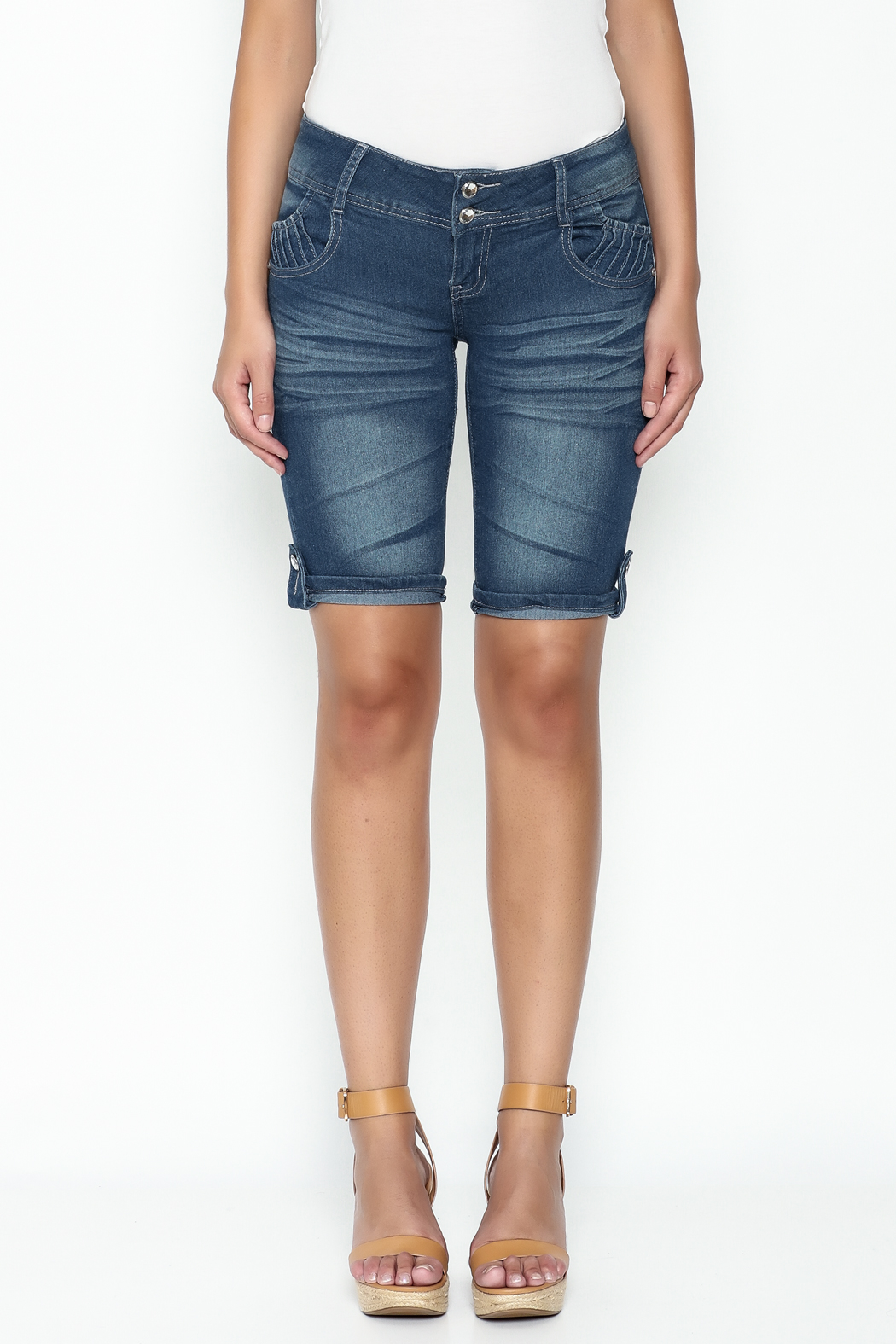 Kaba Denim Bermuda Shorts - Front Full Image