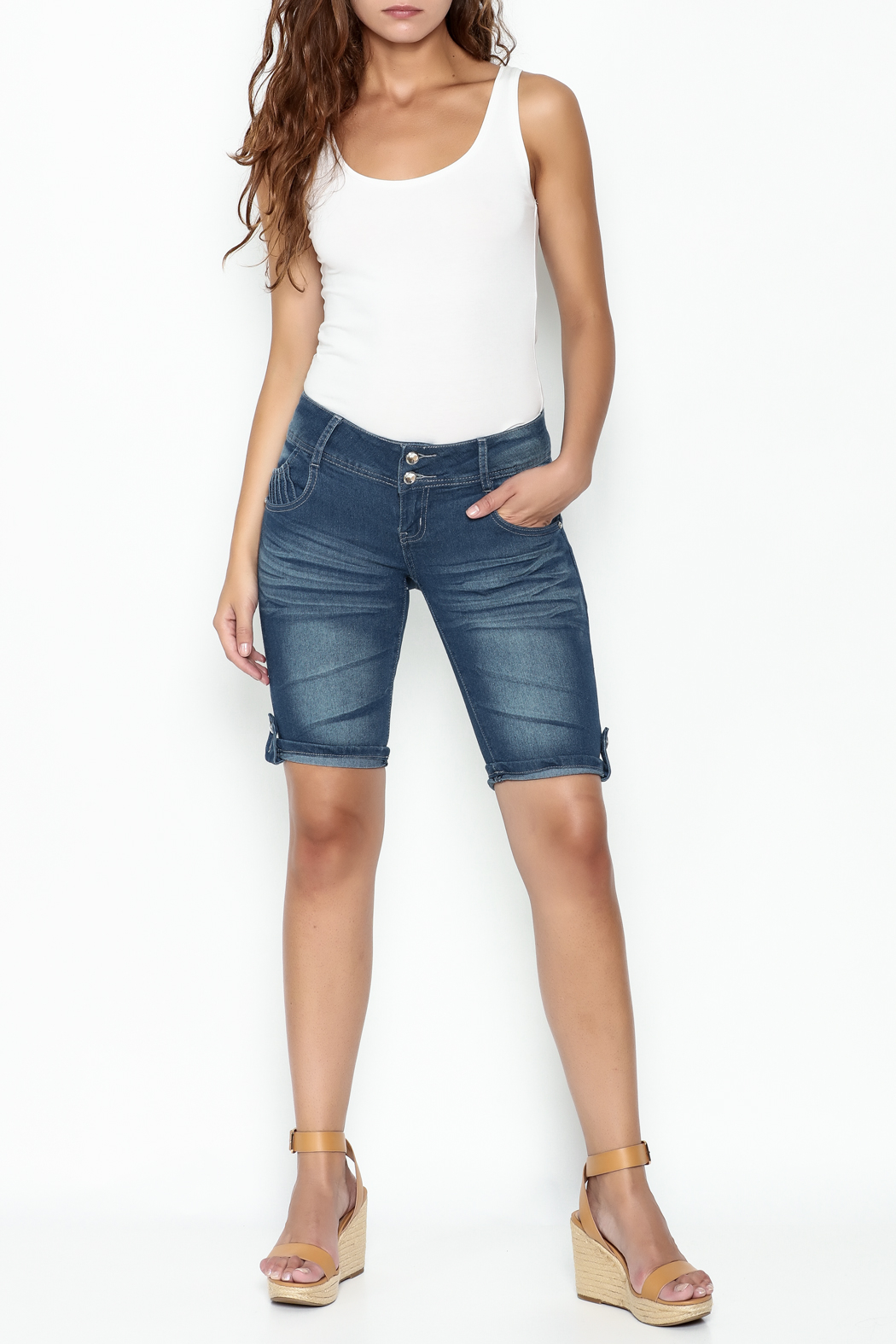 Kaba Denim Bermuda Shorts - Side Cropped Image