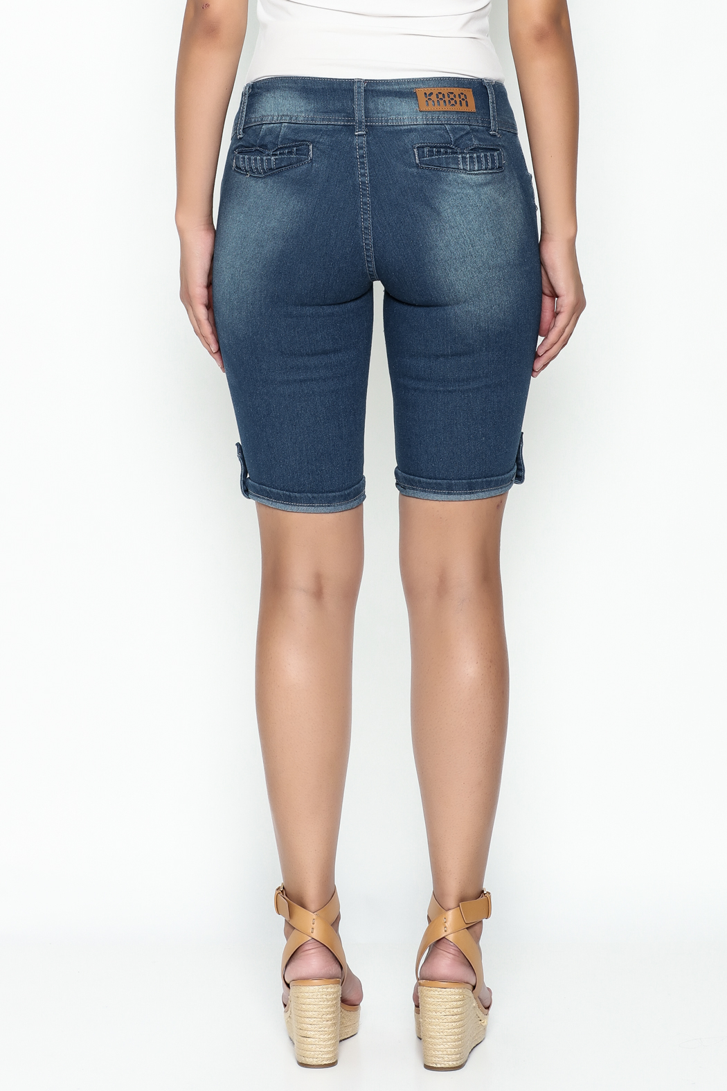 Kaba Denim Bermuda Shorts - Back Cropped Image