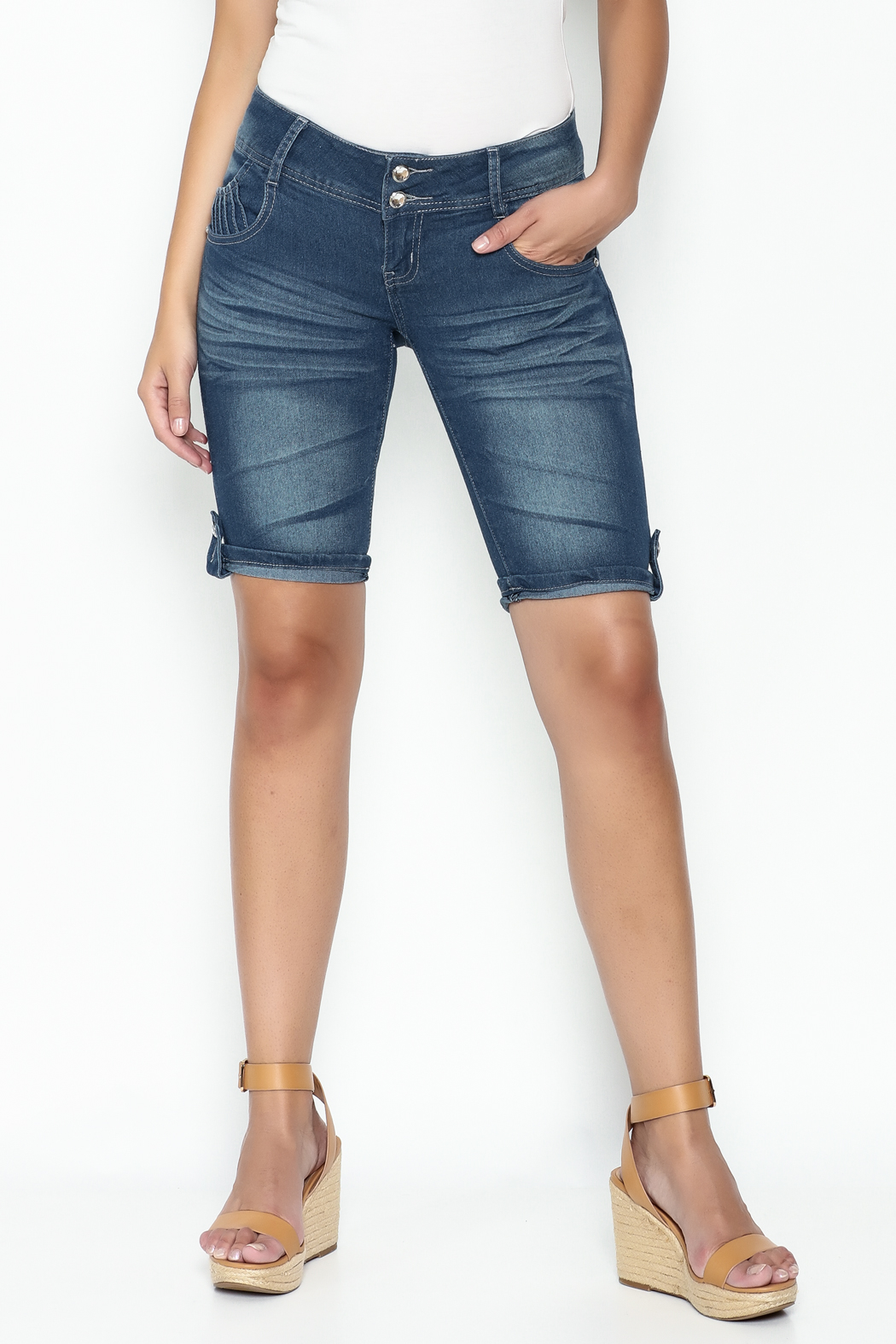 Kaba Denim Bermuda Shorts - Front Cropped Image