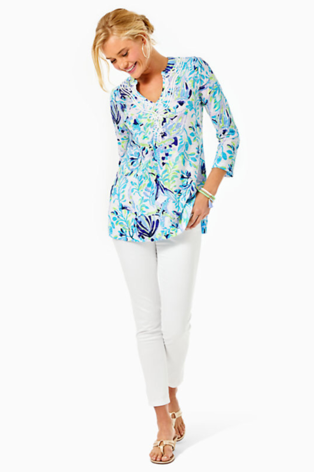Lilly Pulitzer Kaia Knit Tunic Top Shell Beach - Side Cropped Image