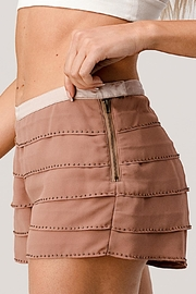 Kaii Beaded Scallop Layered Hem Shorts Crepe Georgette - Back cropped