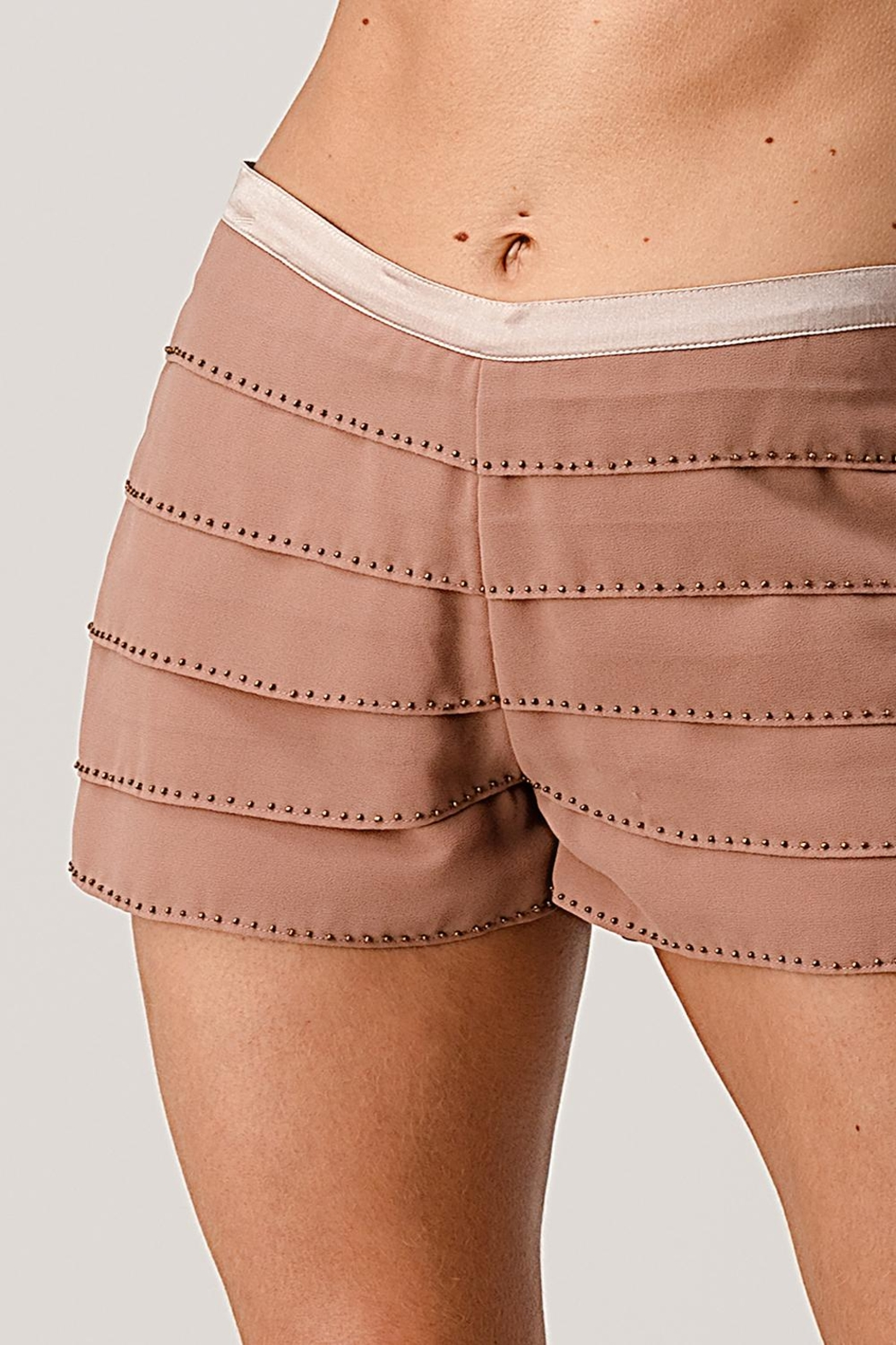 Kaii Beaded Scallop Layered Hem Shorts Crepe Georgette - Main Image