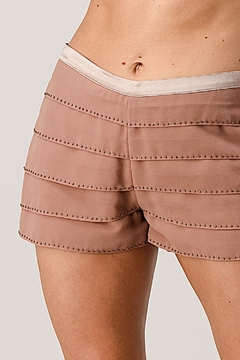 Kaii Beaded Scallop Layered Hem Shorts Crepe Georgette - Product List Image