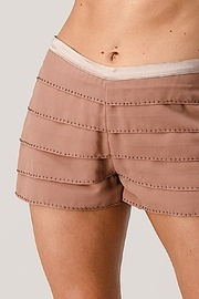 Kaii Beaded Scallop Layered Hem Shorts Crepe Georgette - Front cropped