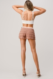 Kaii Beaded Scallop Layered Hem Shorts Crepe Georgette - Other