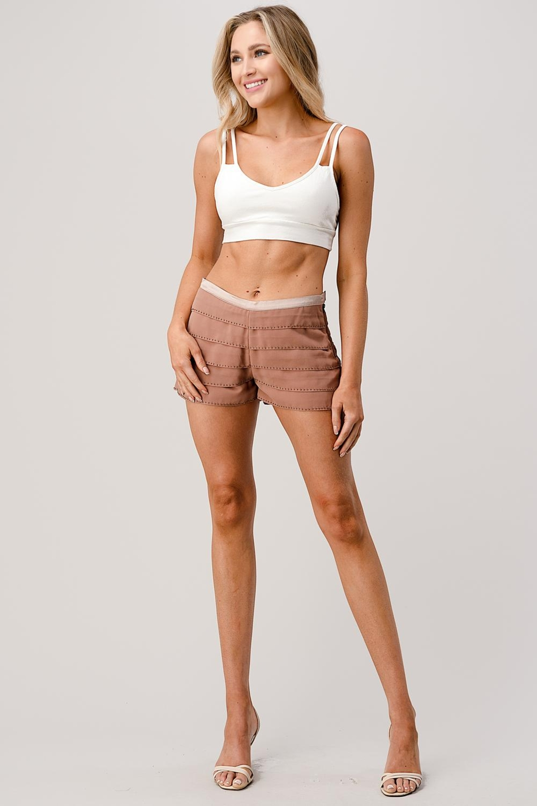 Kaii Beaded Scallop Layered Hem Shorts Crepe Georgette - Side Cropped Image