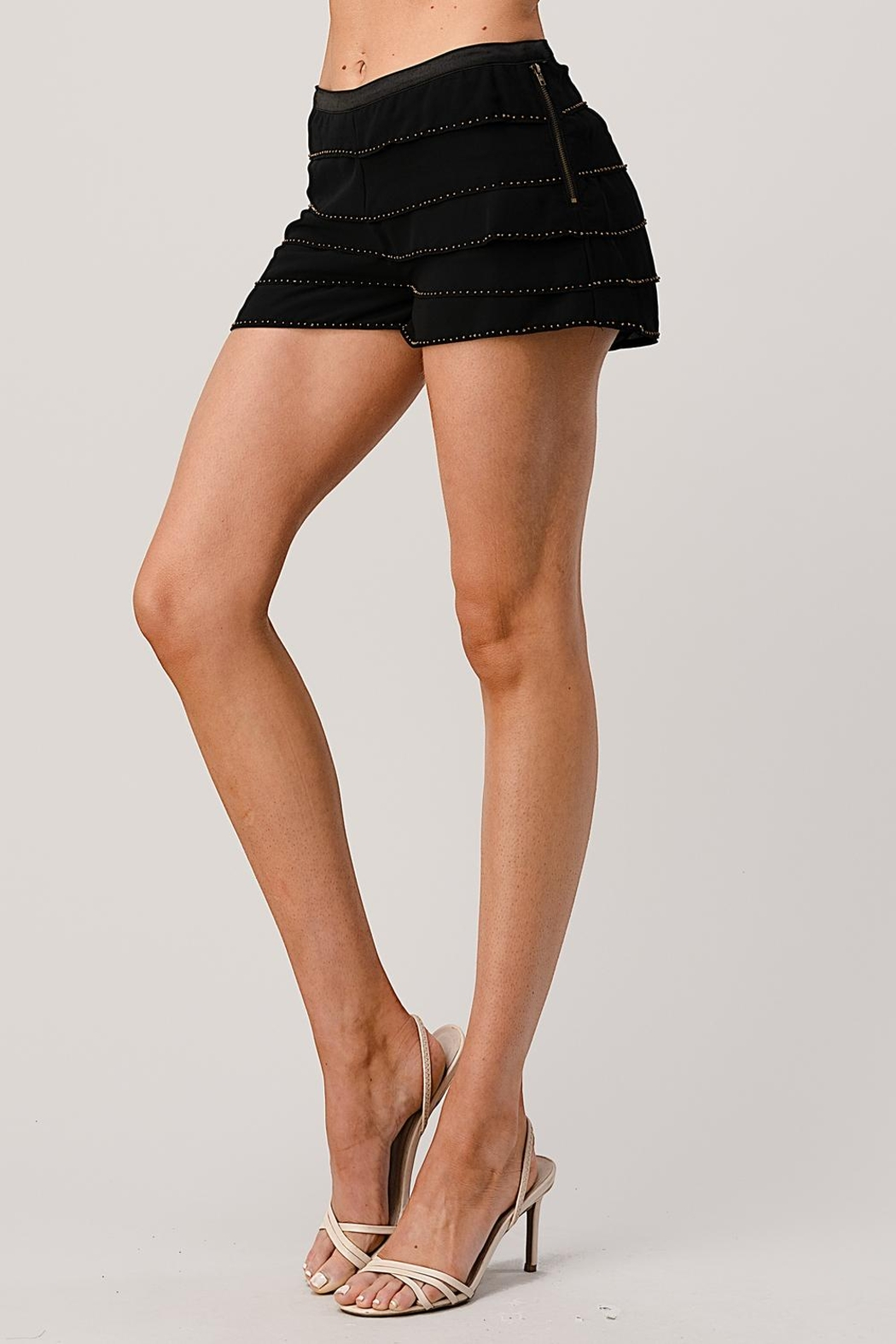 Kaii Beaded Scallop Layered Hem Shorts Crepe Georgette - Back Cropped Image