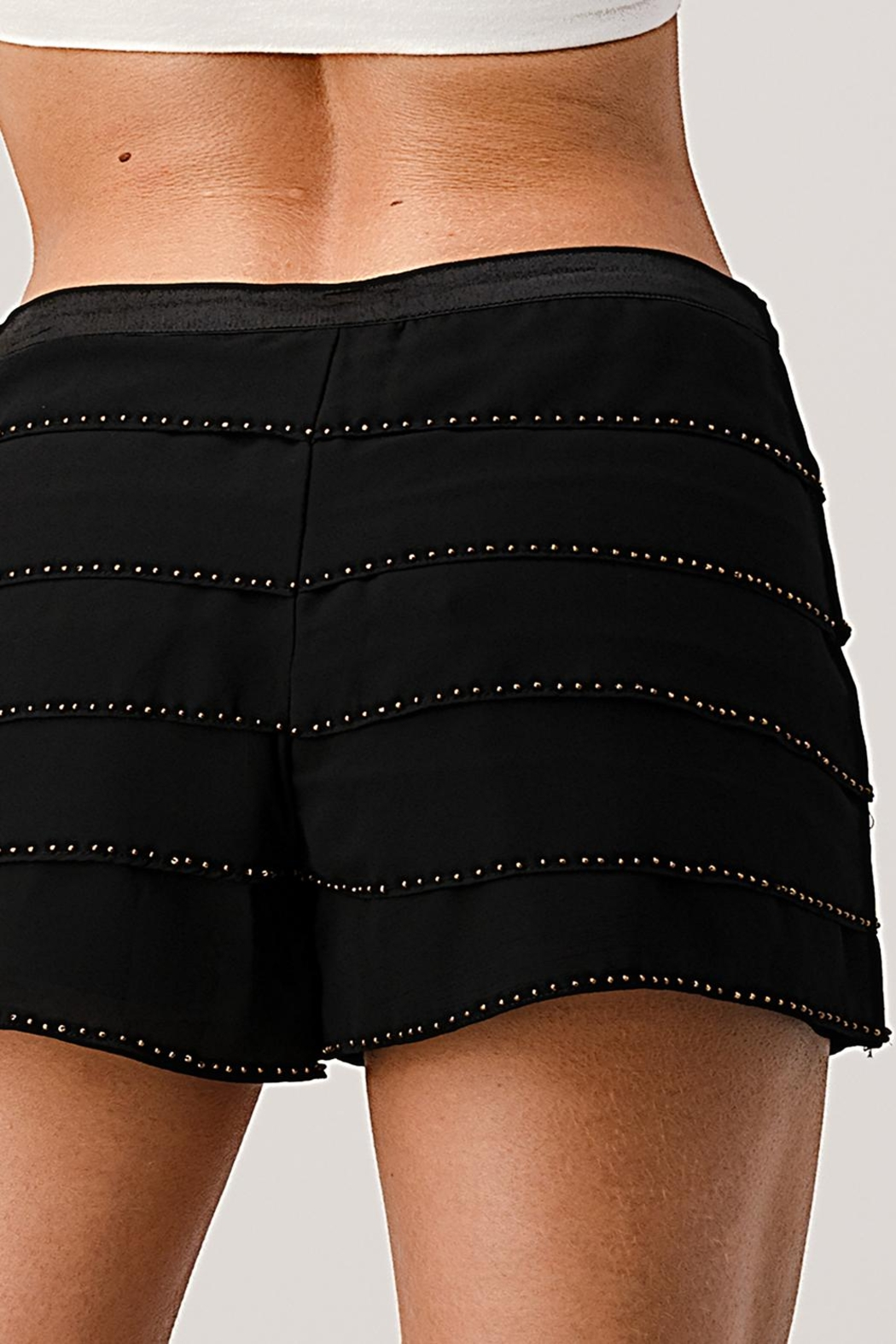 Kaii Beaded Scallop Layered Hem Shorts Crepe Georgette - Front Cropped Image