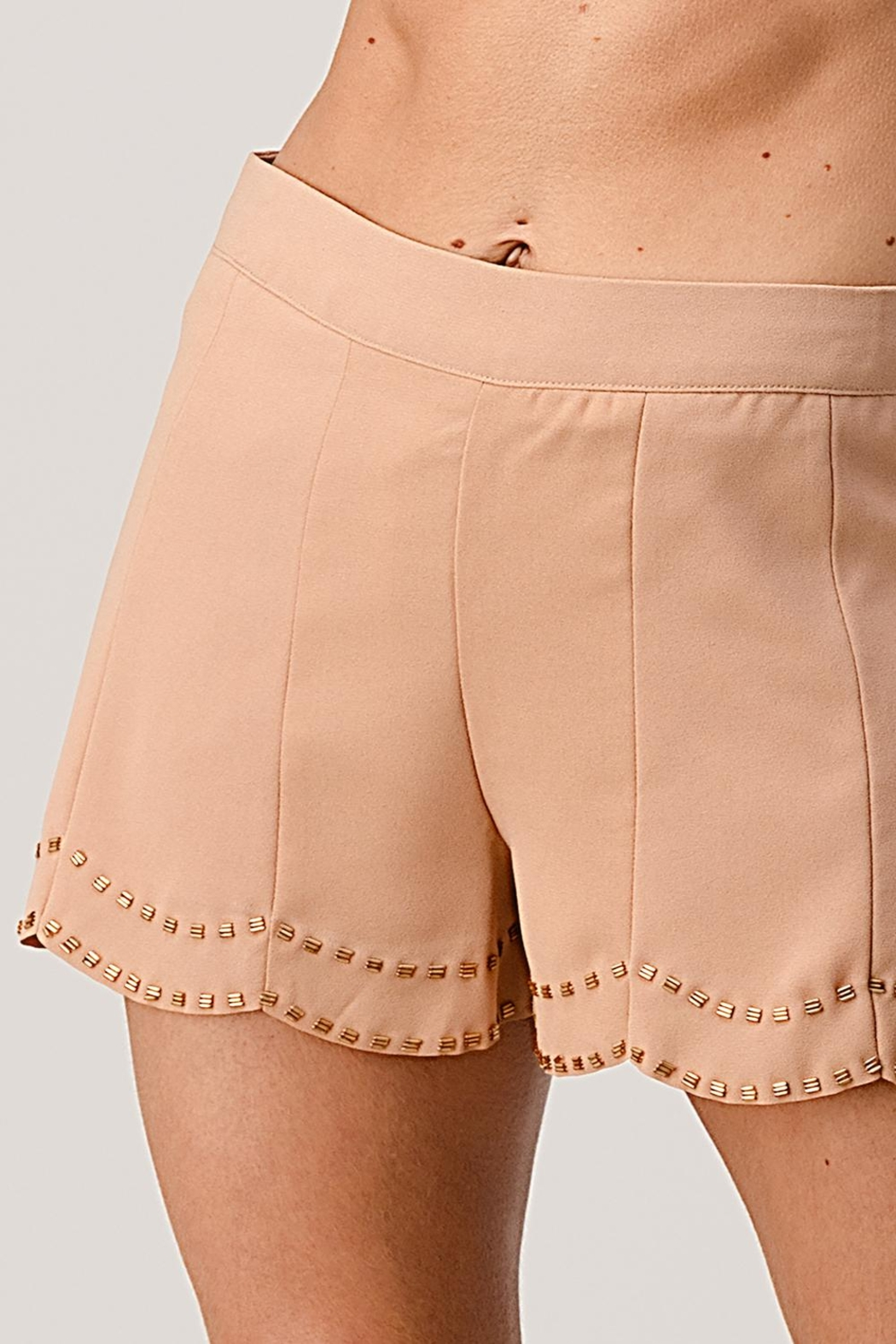 Kaii Beaded Scalloped Hem Shorts In Crepe Georgette - Side Cropped Image