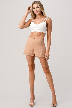 Kaii Beaded Scalloped Hem Shorts In Crepe Georgette - Product List Image