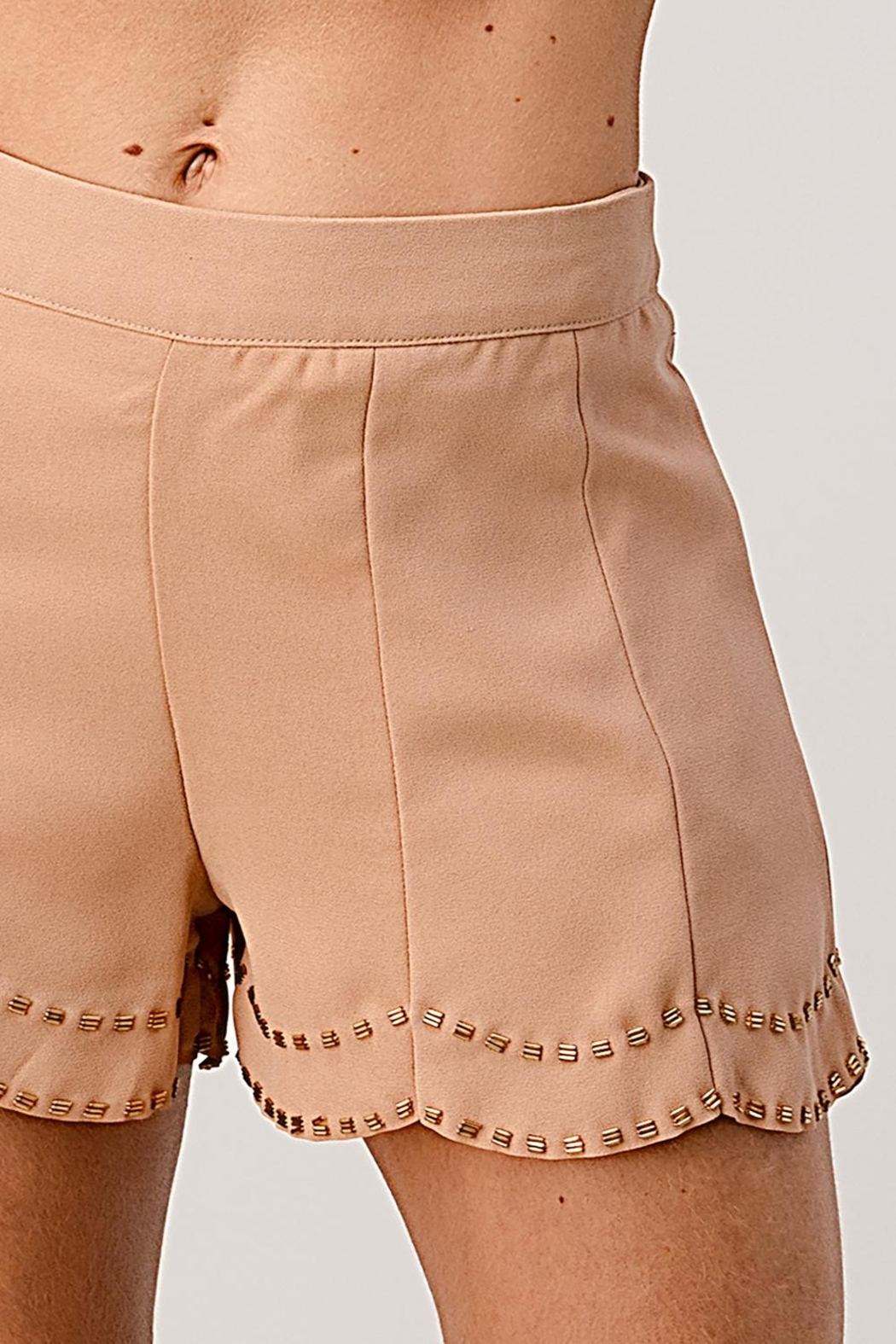 Kaii Beaded Scalloped Hem Shorts In Crepe Georgette - Back Cropped Image
