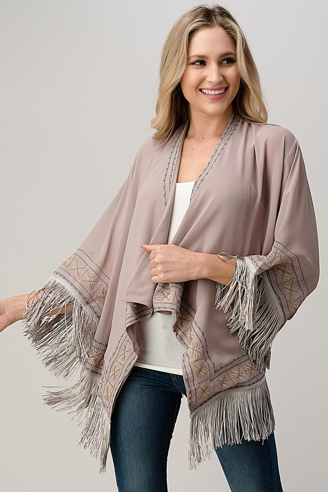 Kaii Beaded With Tassel Hemmed Cover Up Kimono Cardigan - Front Cropped Image