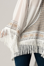 Kaii Beaded With Tassel Hemmed Cover Up Kimono Cardigan - Other