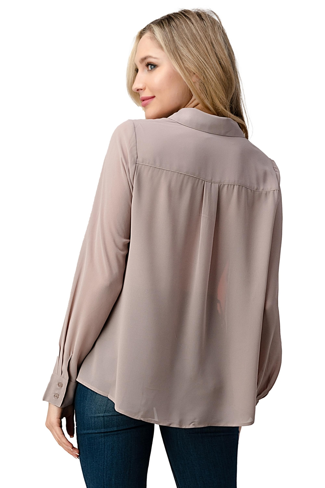 Kaii Color Block Button Front Collared Shirt Top - Back Cropped Image