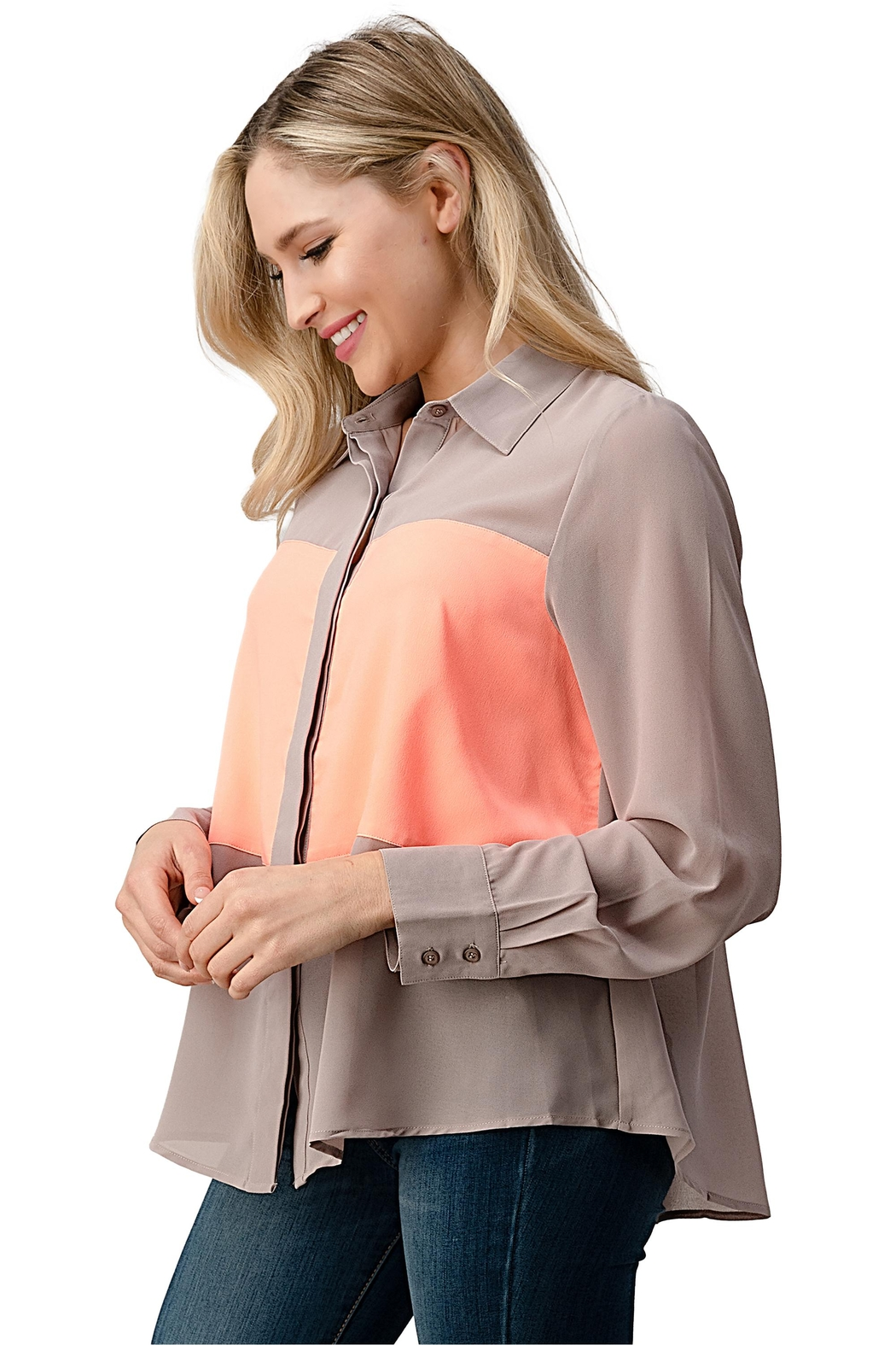 Kaii Color Block Button Front Collared Shirt Top - Side Cropped Image