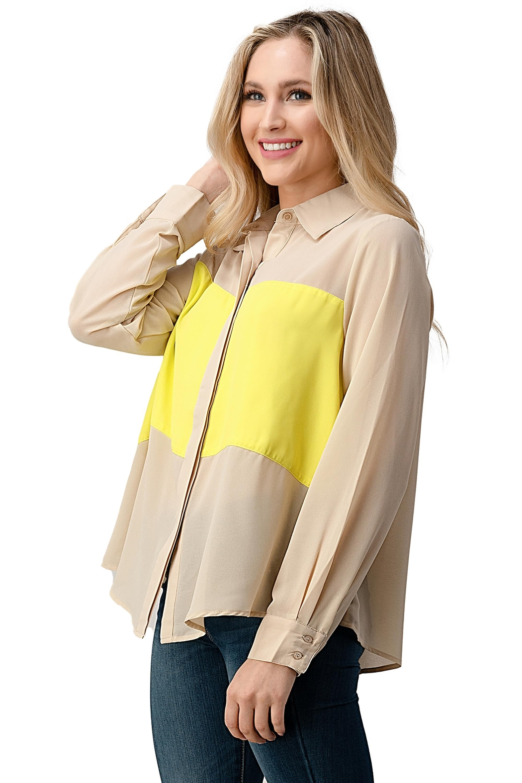 Kaii Color Block Button Front Collared Shirt Top - Front Full Image