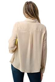 Kaii Color Block Button Front Collared Shirt Top - Side cropped