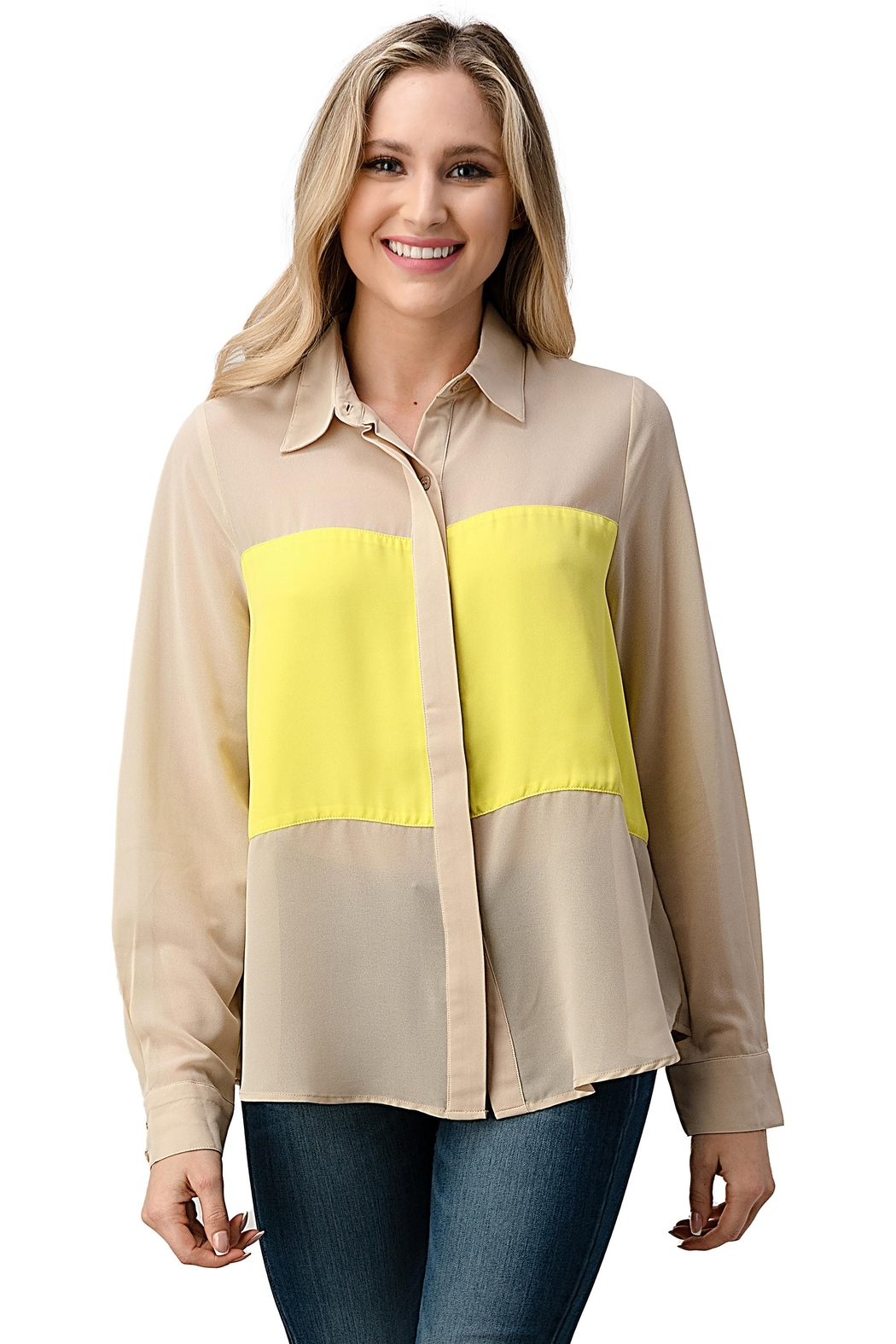 Kaii Color Block Button Front Collared Shirt Top - Front Cropped Image