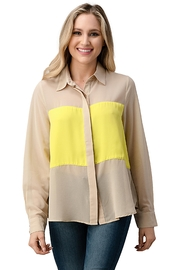 Kaii Color Block Button Front Collared Shirt Top - Front cropped