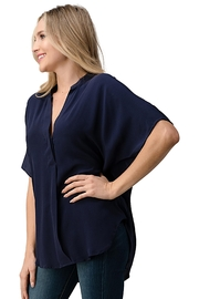 Kaii Dolman Sleeve Silk Solid Blouse Top - Front full body