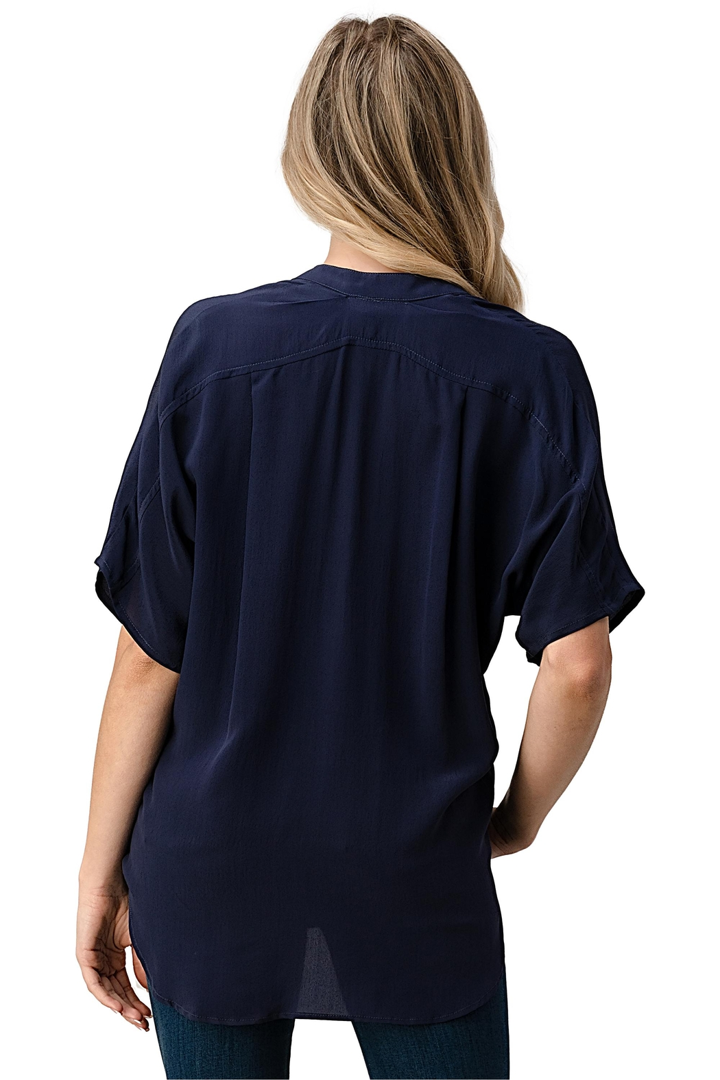 Kaii Dolman Sleeve Silk Solid Blouse Top - Side Cropped Image