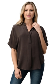 Kaii Dolman Sleeve Silk Solid Blouse Top - Front cropped