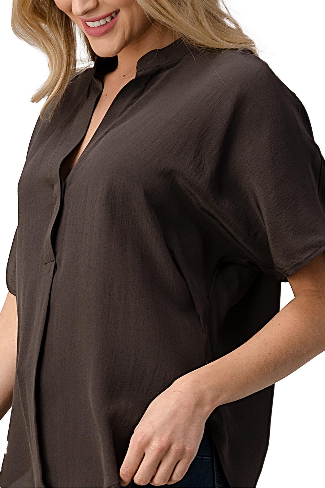 Kaii Dolman Sleeve Silk Solid Blouse Top - Front Full Image