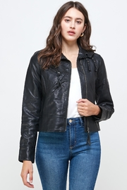 Kaii Double Buckle High Neck Vegan Leather Biker Jacket - Product Mini Image
