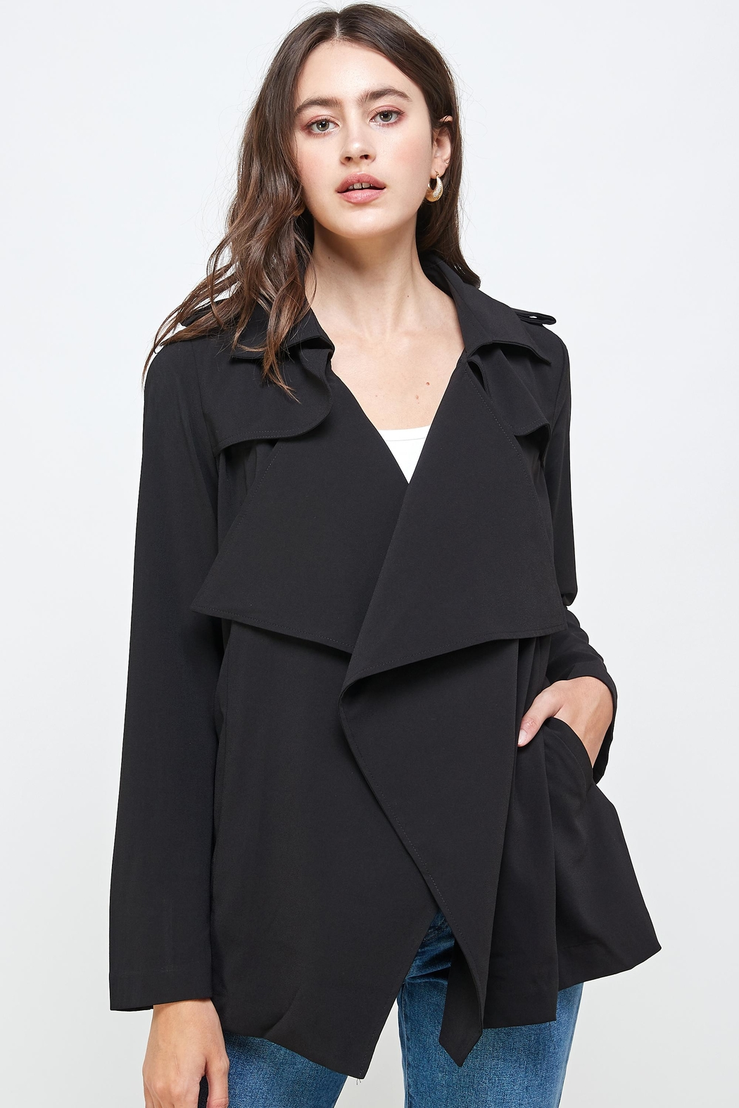 Kaii Draped Collar Trench Coat Jacket Top - Front Cropped Image