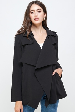Shoptiques Product: Draped Collar Trench Coat Jacket Top