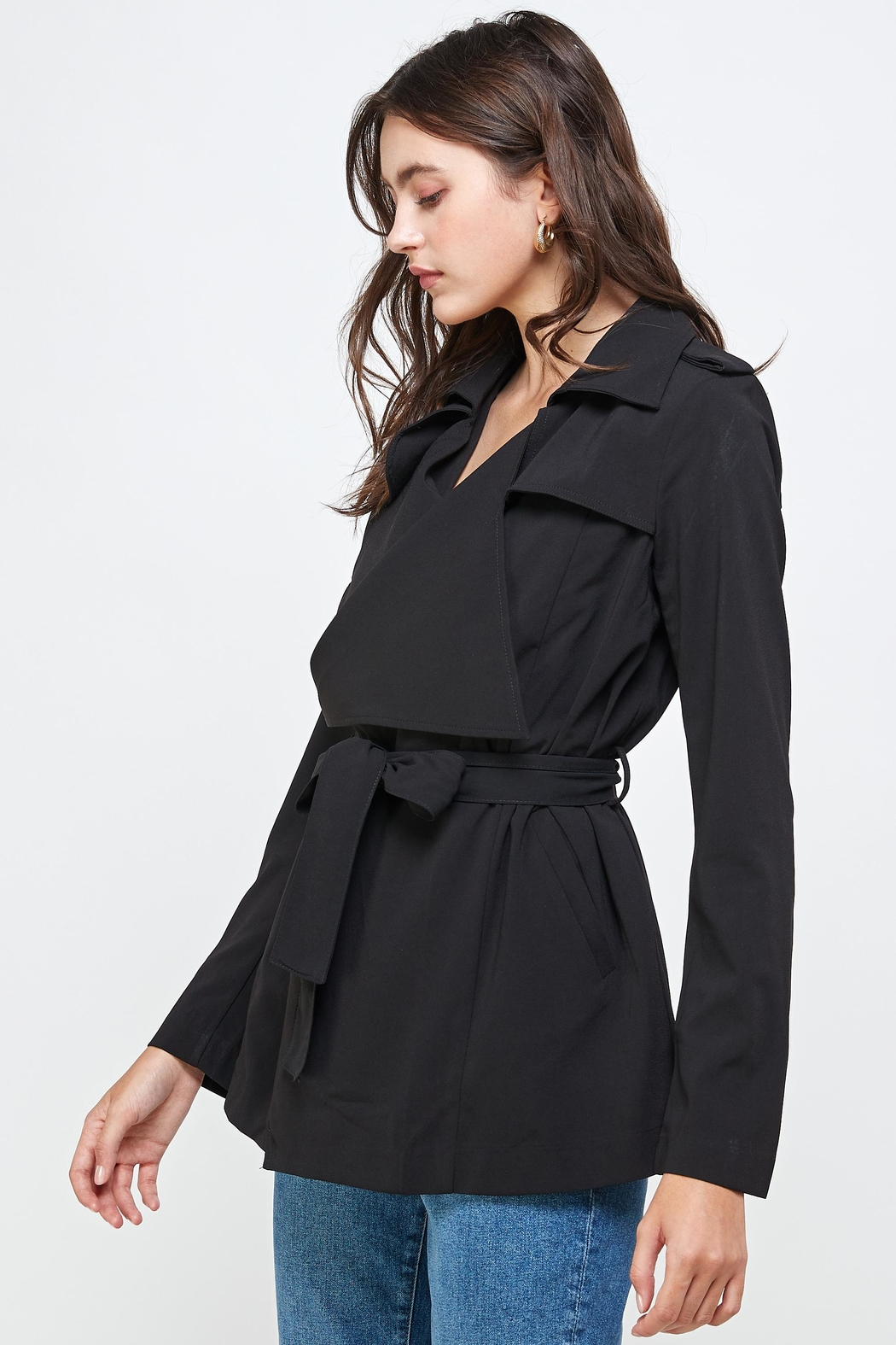 Kaii Draped Collar Trench Coat Jacket Top - Front Full Image