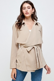 Kaii Draped Collar Trench Coat Jacket Top - Front cropped