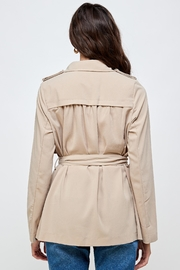 Kaii Draped Collar Trench Coat Jacket Top - Back cropped