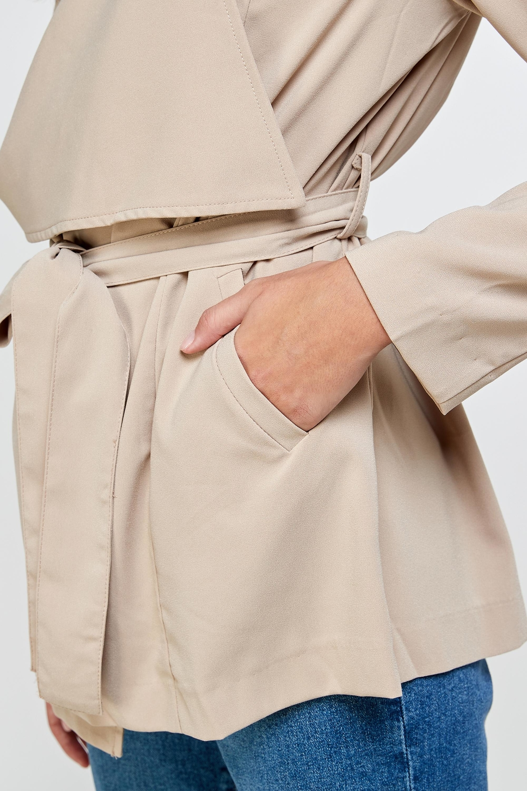 Kaii Draped Collar Trench Coat Jacket Top - Side Cropped Image