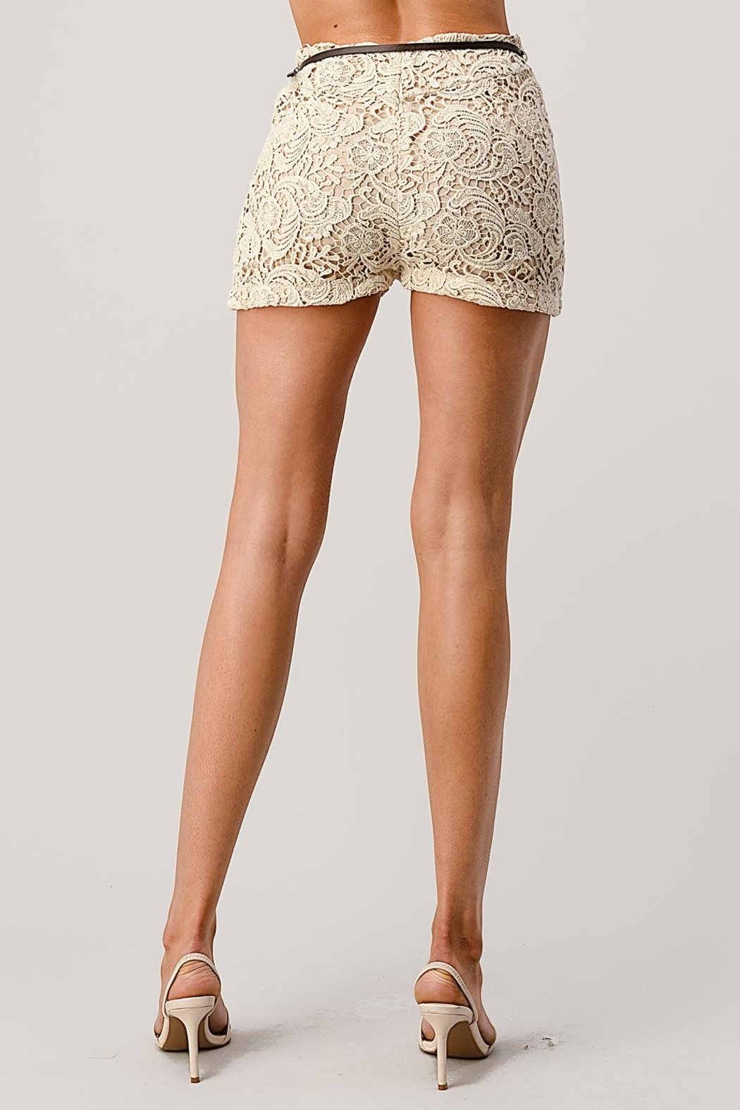 Kaii Fully Lined Belted Shorts In Crochet Lace - Back Cropped Image