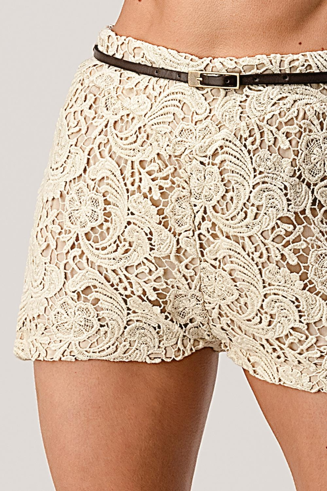Kaii Fully Lined Belted Shorts In Crochet Lace - Main Image