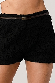 Kaii Fully Lined Belted Shorts In Crochet Lace - Front cropped