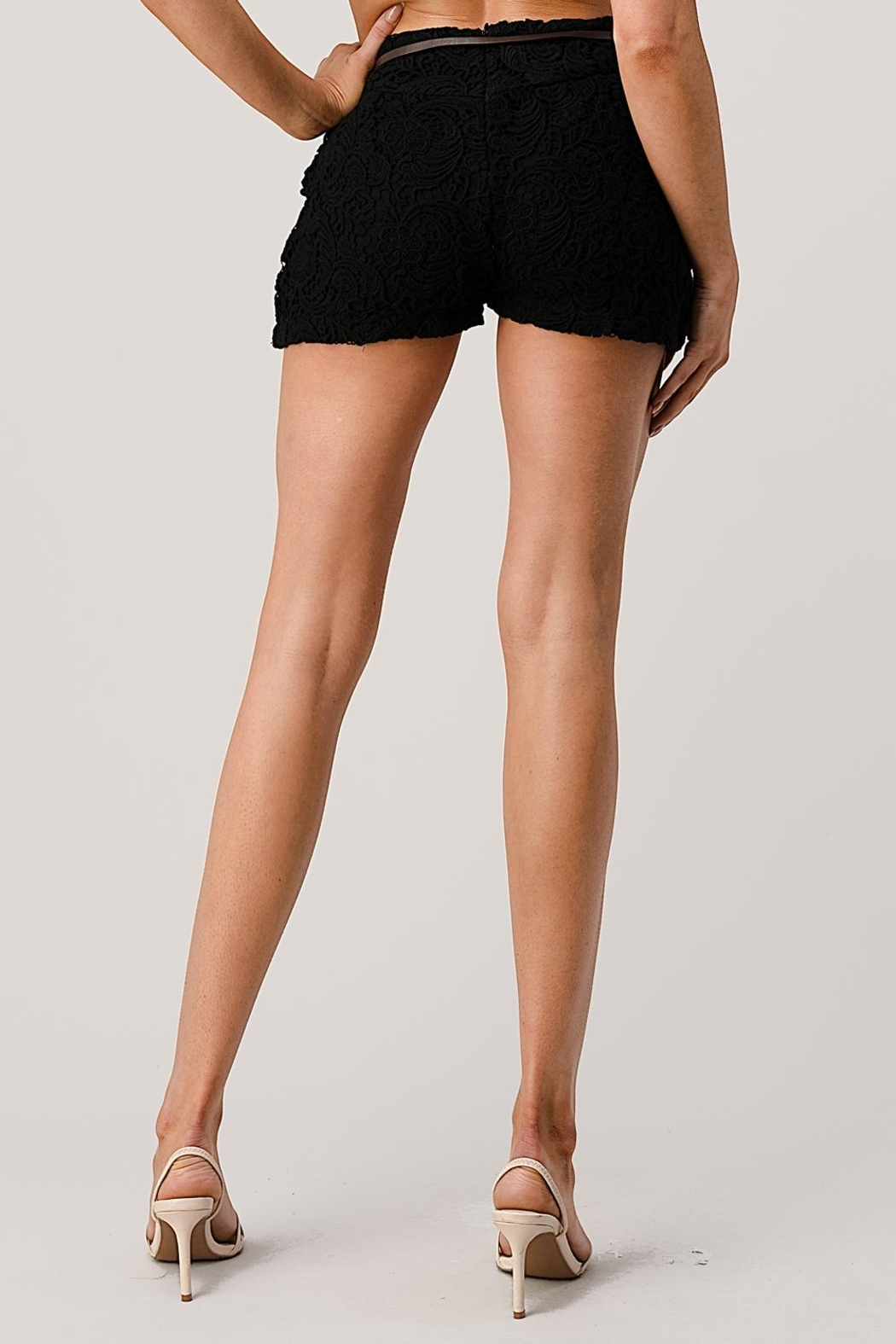 Kaii Fully Lined Belted Shorts In Crochet Lace - Front Full Image