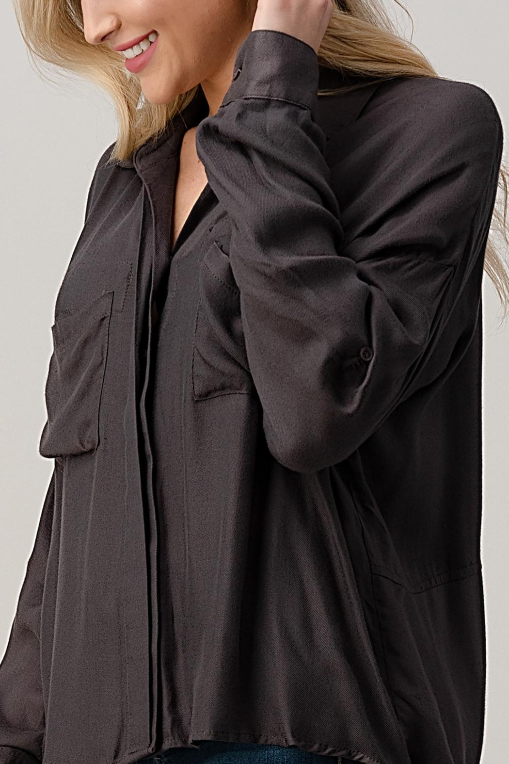 Kaii High-Low Hem And Rolled Up Sleeves Shirts Top - Front Full Image