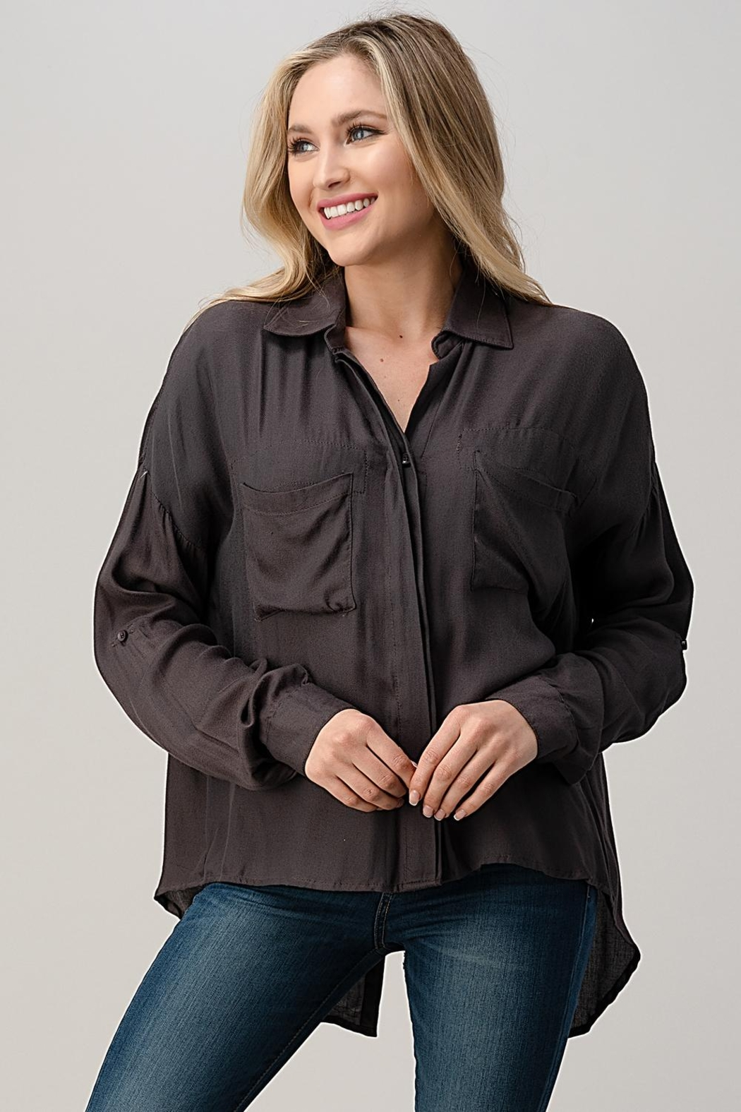 Kaii High-Low Hem And Rolled Up Sleeves Shirts Top - Main Image