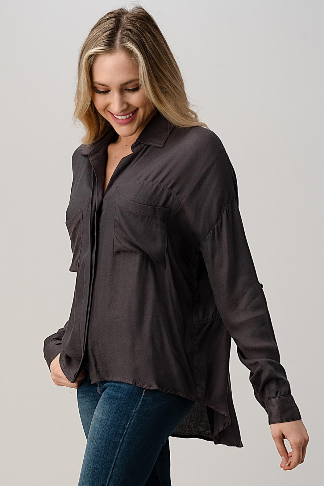Kaii High-Low Hem And Rolled Up Sleeves Shirts Top - Back Cropped Image