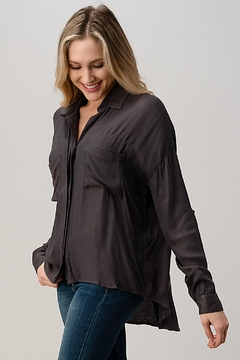 Kaii High-Low Hem And Rolled Up Sleeves Shirts Top - Alternate List Image