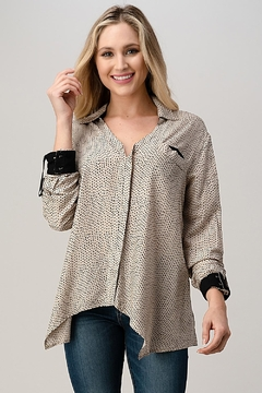 Kaii High-Low Shirt Top Hemmed And Rolled Up Sleeves - Product List Image