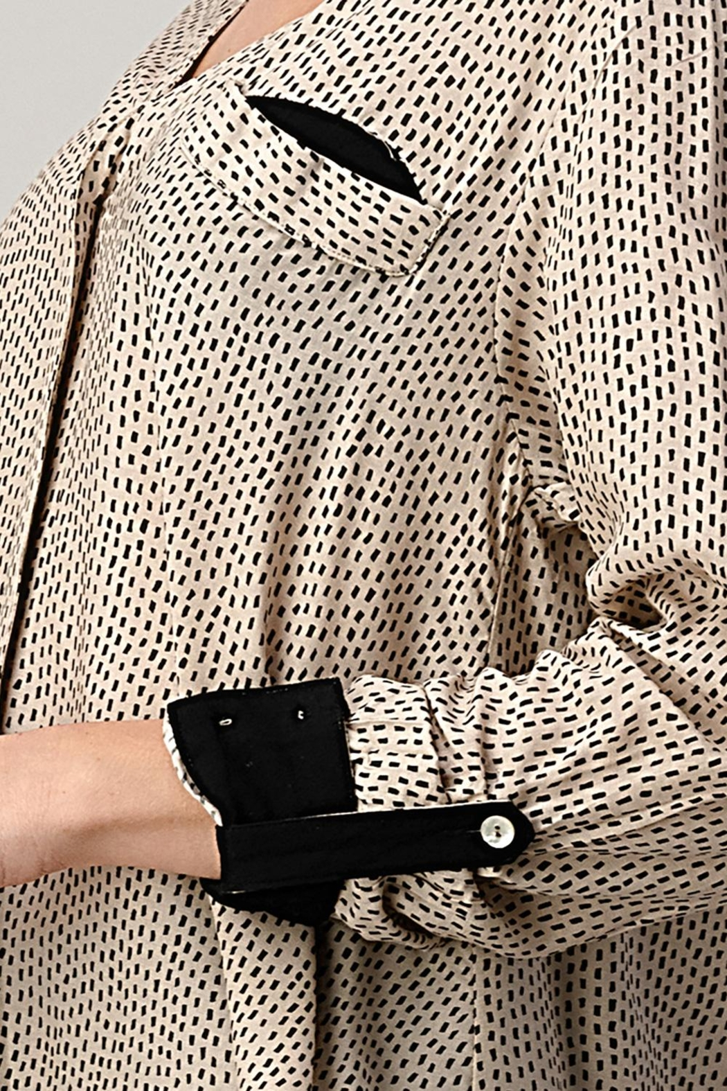 Kaii High-Low Shirt Top Hemmed And Rolled Up Sleeves - Front Full Image
